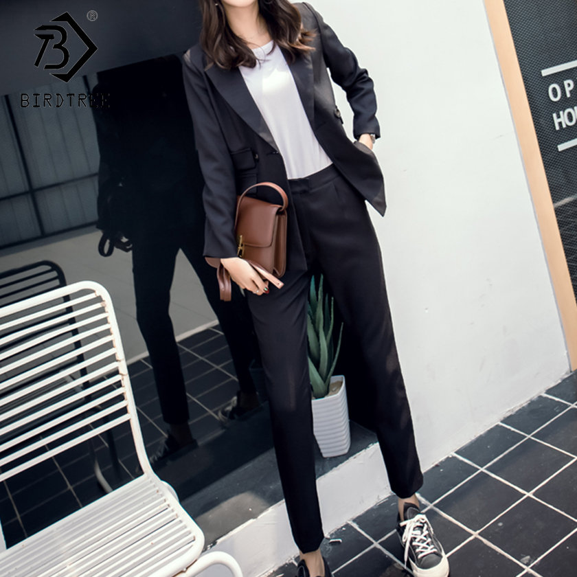 New Autumn Winter Women s Pants Suits 2 Color Solid Fashion Turn down Collar Tops And