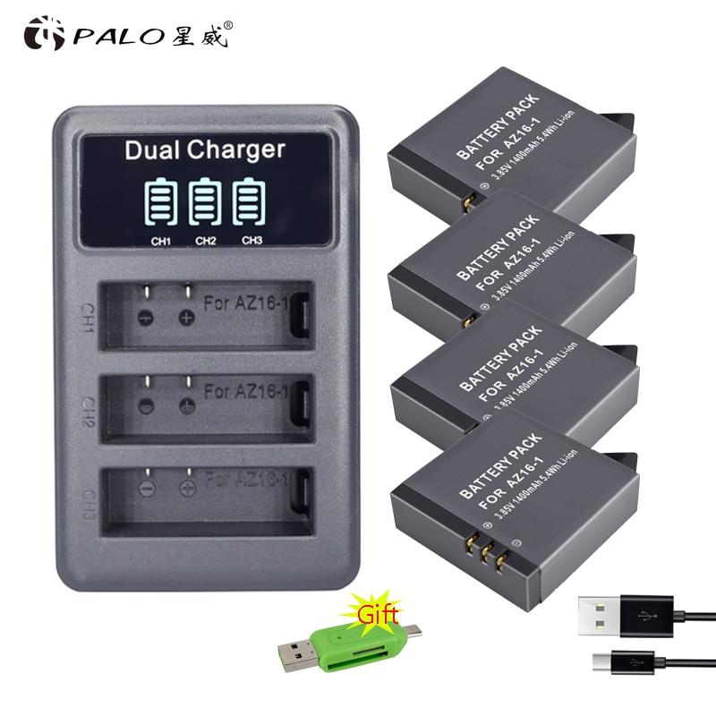 4x AZ16-1 xiao mi yi 2 4 k yi Lite Batteries Accu + led USB DOUBLE Chargeur Pour xiaoyi 2 4 k Xiao mi Yi II camera action Accessoires