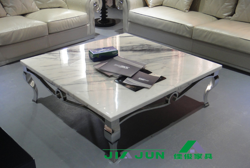 Luxurious marble neoclassical square coffee table modern stainless