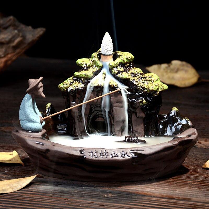Rückfluss Räuchergefäß Hause Decor Keramik Rauch Rückfluss Räucherstäbchenhalter Räuchergefäß + 10 Stücke Weihrauch Kegel