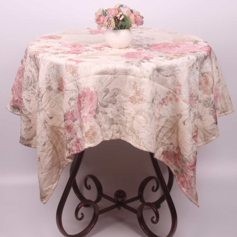 CURCYA Household Linen Pink Floral Luxury Coffee Table Cloth Cover 110x110cm Vintage New Year Home Decorative Tablecloth