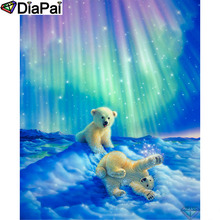 DIAPAI Diamond Painting 5D DIY 100% Full Square/Round Drill Animal bear aurora Embroidery Cross Stitch 3D Decor A24691
