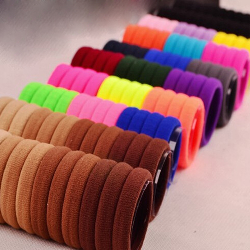 100Pcs Girls Elastic Hair Bands Rubber Bands Headband