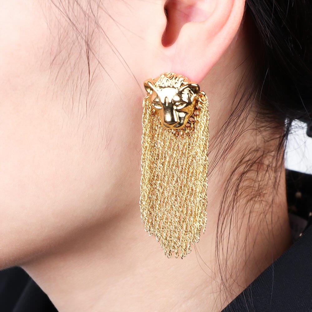 1 par de moda exagerada cabeça de leão metal corrente borla balançar brincos para mulheres punk hip hop na moda brinco feminino jóias