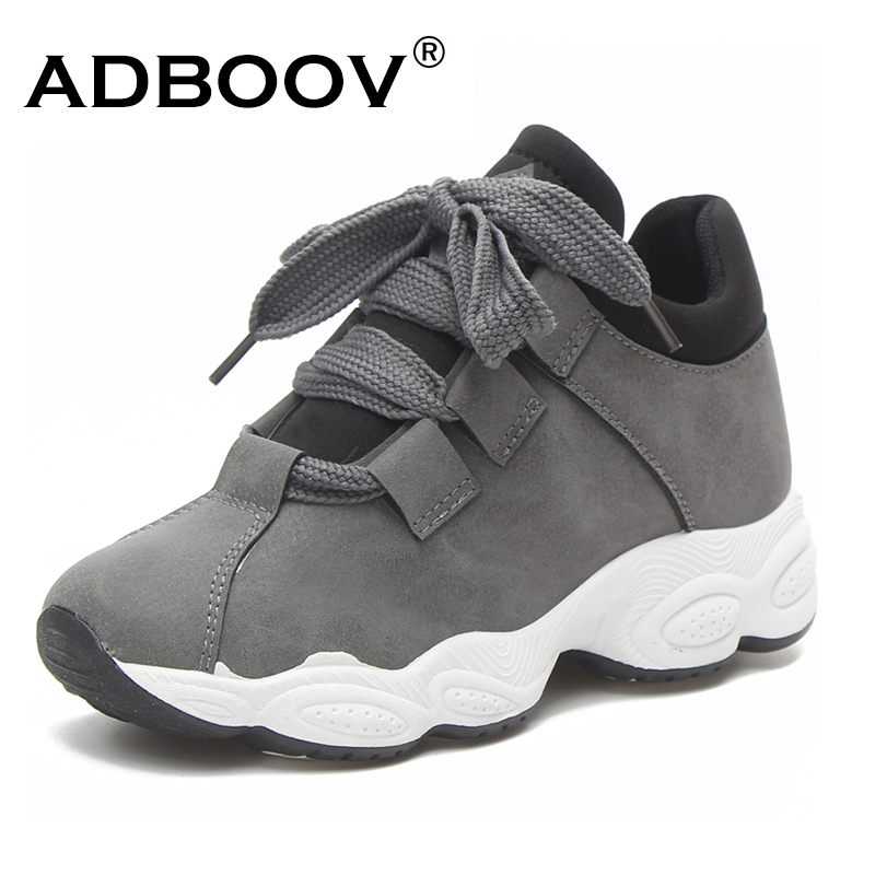 ADBOOV/осенне-зимние кроссовки на платформе, Женская замшевая удобная повседневная обувь из свиной кожи, Женская корейская мода, zapatos De Mujer, сер...