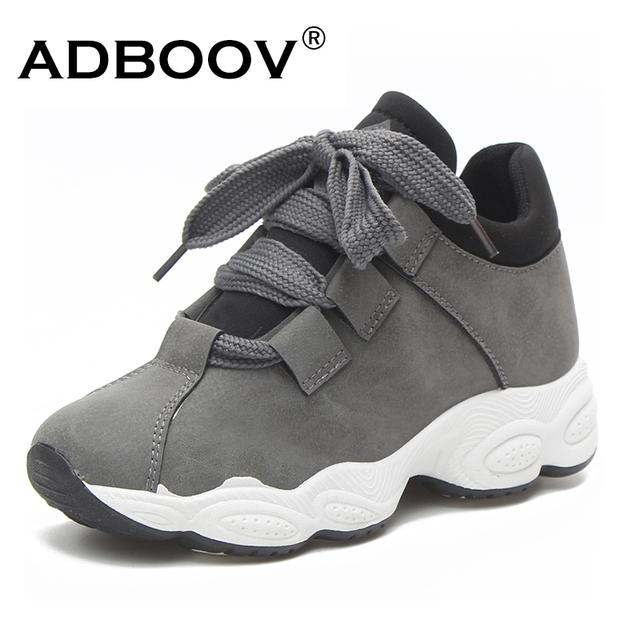 c2c479fac26 ADBOOV Autumn Winter Platform Sneakers Women Pig Suede Comfortable ...