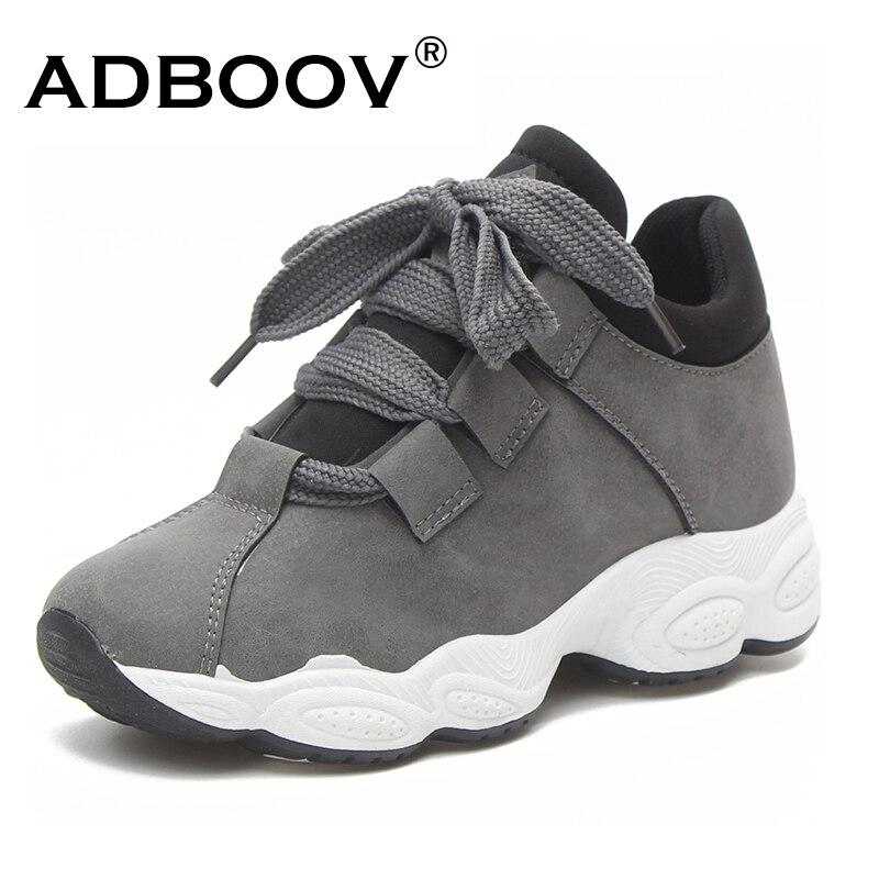 ADBOOV Otoño Invierno zapatillas De plataforma Mujer cerdo gamuza cómodos Zapatos casuales Mujer moda coreana Zapatos De Mujer gris negro