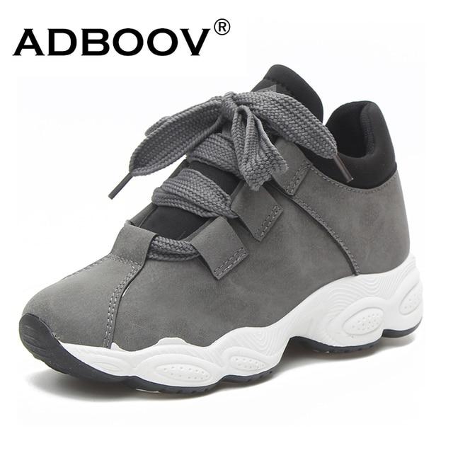ADBOOV/осенне-зимние кроссовки на платформе, Женская замшевая удобная повседневная обувь из свиной кожи, Женская корейская мода, zapatos De Mujer, серый, черный цвет
