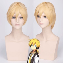 цена на VOCALOID Kagamine Len Cosplay Wig for Man Short Straight Blond High Quality Heat Resistant Synthetic Wig With Ponytail Anime