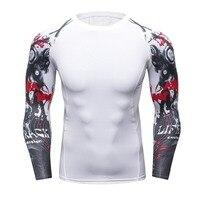Muscle Men Compressione Pelle Tesa Camicia Maniche Lunghe 3D Stampe MMA Rashguard Lo Strato Basso Fitness Sollevamento Pesi Maschile Top Wear