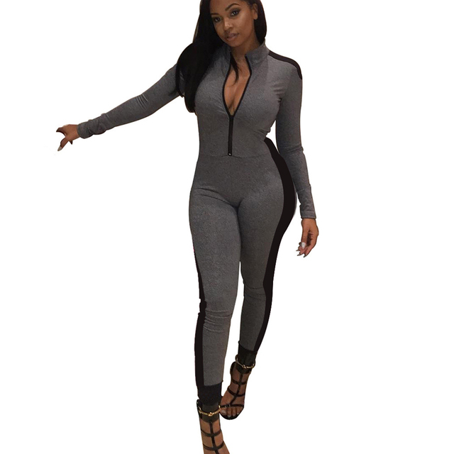 b77d42f4f64c Fashion Fitness Jumpsuit Women Long Sleeve Sporting Jumpsuits Stand Color  Zipper Rompers Casual Slim Overalls Long Pants Grey