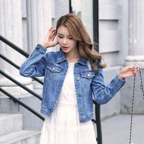 Automne Version Cowboy Coréenne Vêtements Et Denim Manches Court Jacket Féminin À Nouveau Printemps Femmes Manteau Longues Femelle Trou Veste 4AqqvB