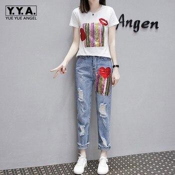 16538928d16ea42 Модные летние женские рваные джинсы комплект из двух предметов ...