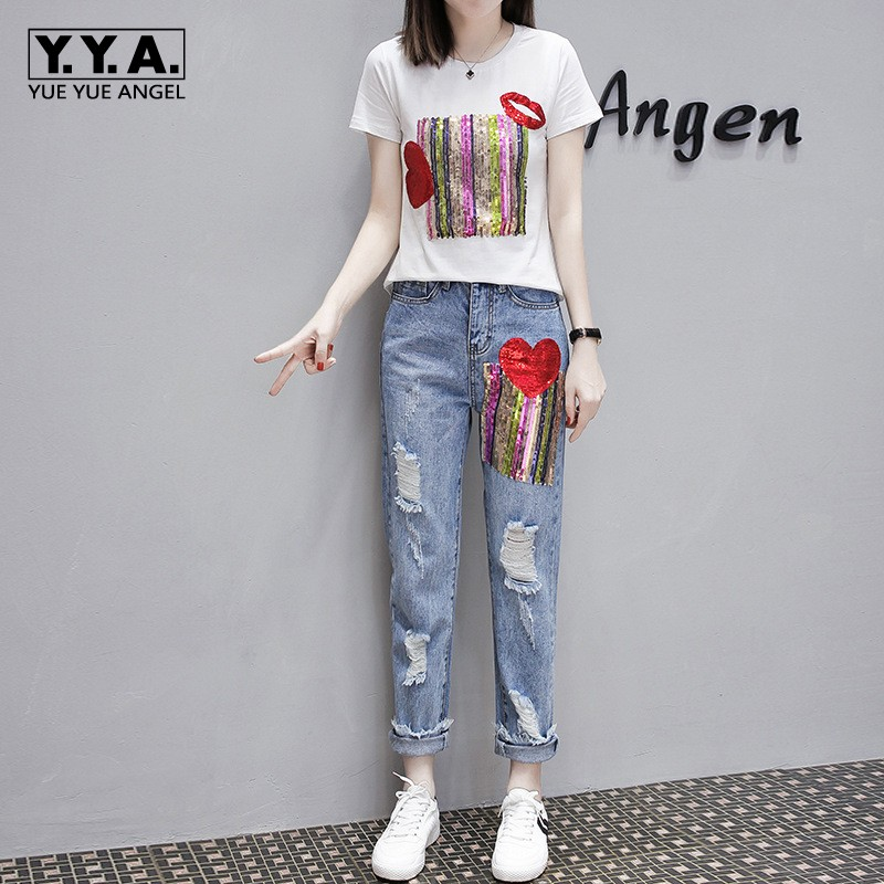 Fashion Summer Women Hole Ripped Jeans Two Piece Set Sequined Short Sleeve T shirt Tracksuit Streetwear Slim Fit Ensemble Femme-in Women's Sets from Women's Clothing    1
