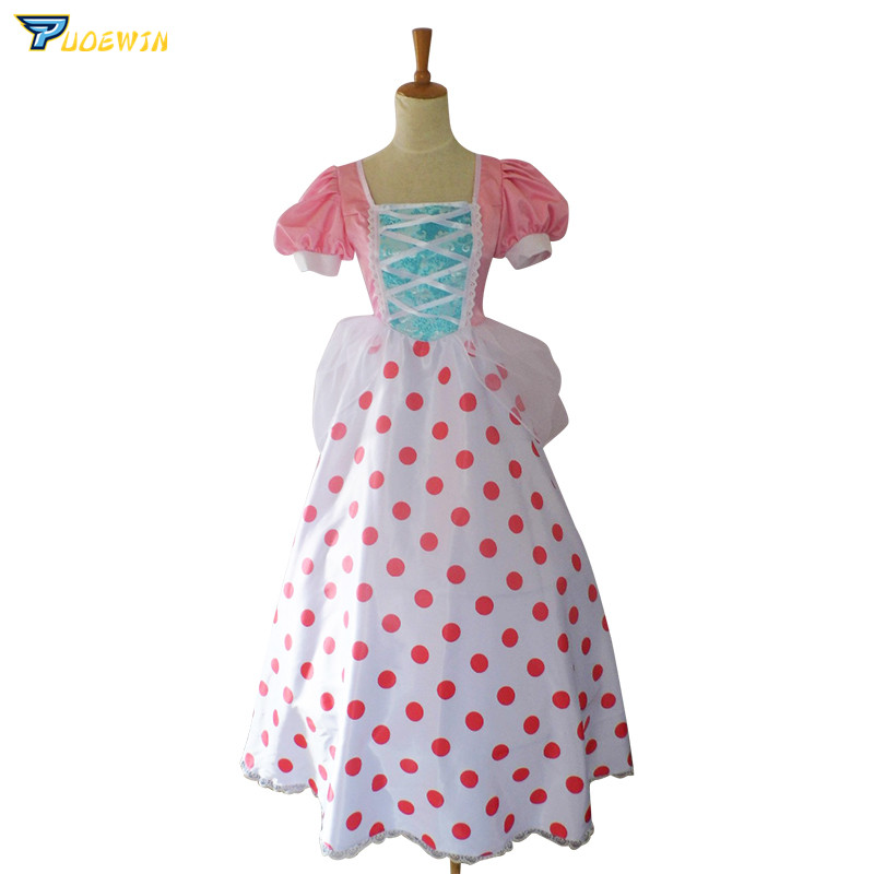 Toy Story Bo Peep Cosplay Costume rose dentelle robe avec chapeau & jupon