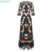 QYFCIOUFU 2019 роскошные черные женские макси летнее платье Половина рукава Кружева Вышивка взлетно посадочной полосы платье качество модные веч