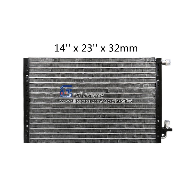 Universal Condenser Radiator 14'' x 23'' x 32mm for A/C Air Conditioning Engineering Vehicles Excavator Truck Tuning Parts