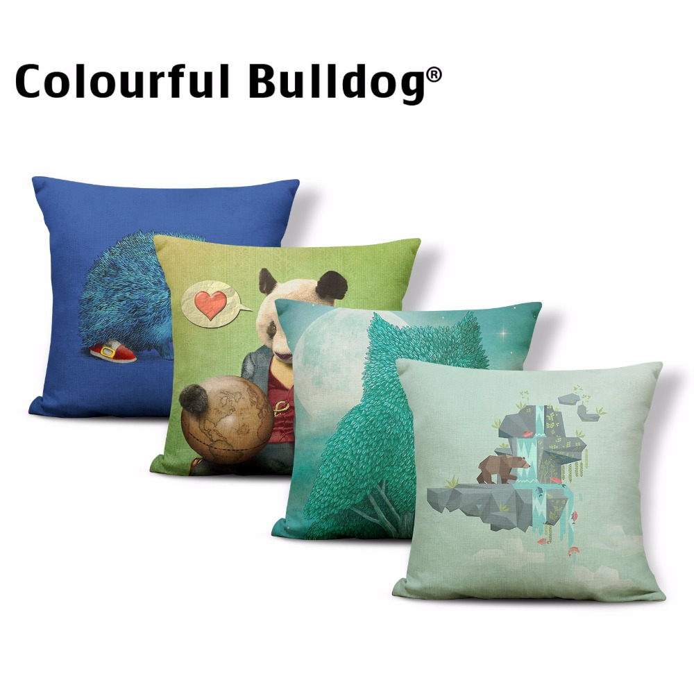 Hedgehog Bull Terrier Cushions Bear Sloth Coffee Cup Throw Pillows Stone Rabbit Moon 43*43 cm Almofadas Cojines Kid Room Decor