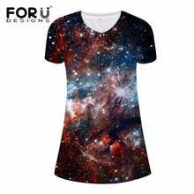 FORUDESIGNS 3D Superstar Galaxy Universe Space Print Women Dress 2017 Fashion Brand Ladies Dresses Casual Star Slim Summer