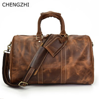 CHENGZHICHENGZHI 18inch New Design Vintage Bag Crazy Horse leather Men Genuine Leather Travel Bag Messenger Bag