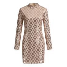 Fashion Women Dresses Sexy Sequin Turtleneck Slim Fit Lady Long Sleeve Everying Party Mini Dress Casual Plus Size Ladies Dresses