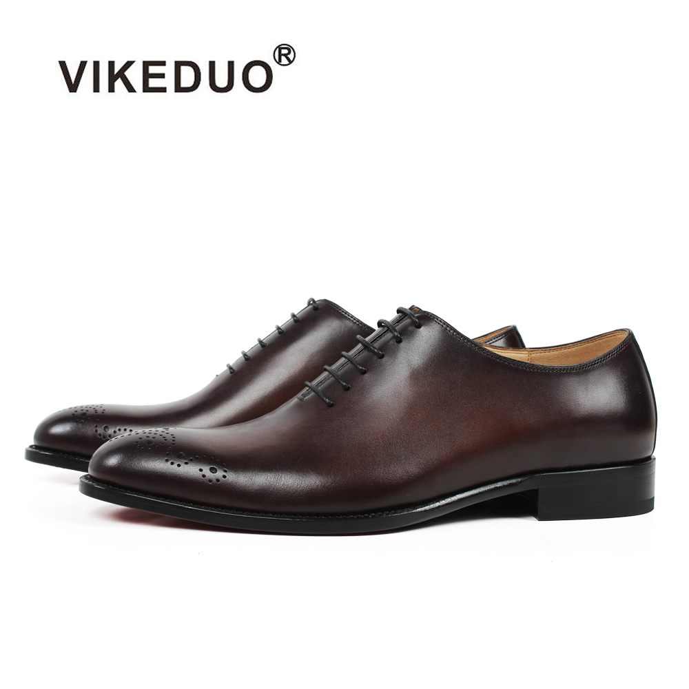 Vikeduo 2019 ทำด้วยมือแฟชั่นหรูหราแต่งงาน Oxford รองเท้าหนังวัวแท้หนัง Patina ผู้ชายรองเท้า Brogue Zapatos-ใน ออกซ์ฟอร์ดส จาก รองเท้า บน   1