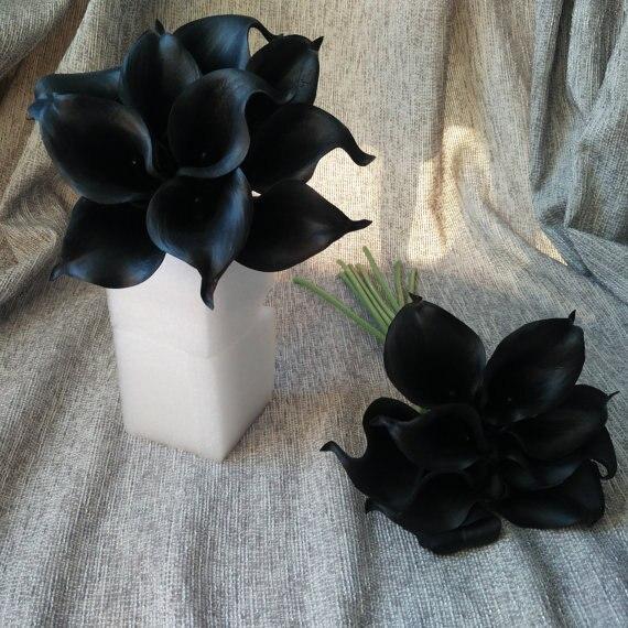 Black Wedding Flowers Black Calla Lilies 10 Stem Real Touch Calla