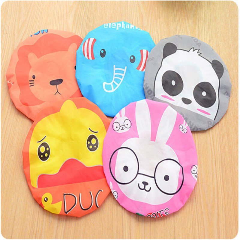 Cute Cartoon Waterproof Toilet Shower Caps Dust Environmental Protection Lace Elastic Band Hat Cap Shower Bath