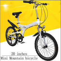 Mini Mountain Bicycle High Carbon Steel Frame Folding Bike Double V Brake/Bilateral Folding Pedal/Six speed Rear Derailleur