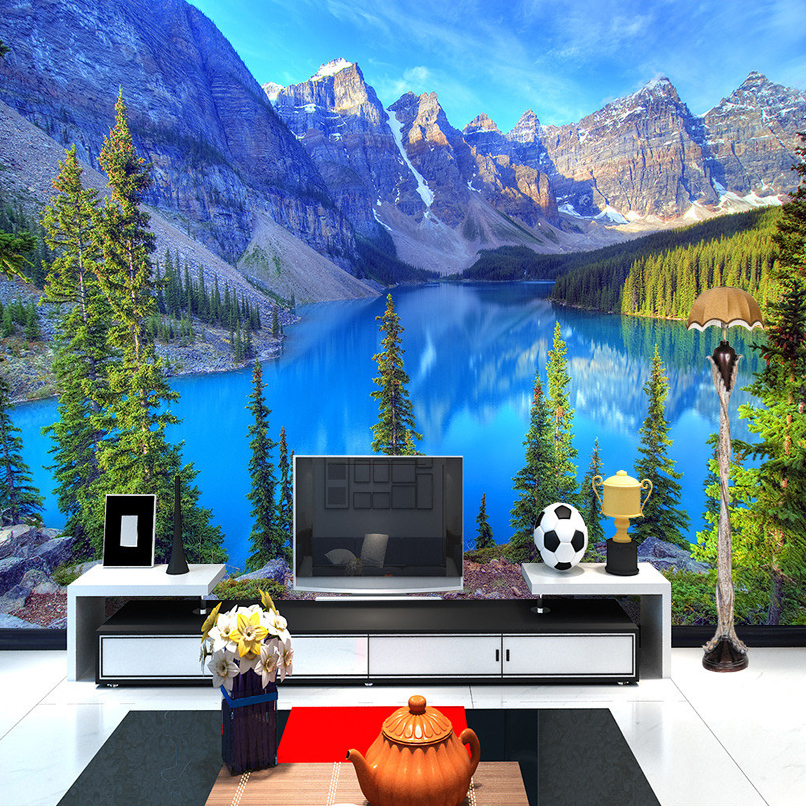 Custom Photo Mural Snow Mountain Blue Lake Nature Landscape Wallpaper For Walls 3 D Living Room Sofa Backdrop Wall Painting 3D