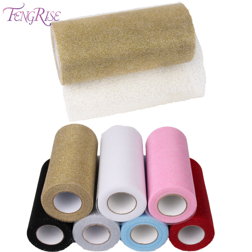 FENGRISE Bryllup Bordsdekoration 15cm 25 Yard Glitter Shimmering Tulle Fabric Roll Decor Tulle Nederdel Sy Mesh Supplies
