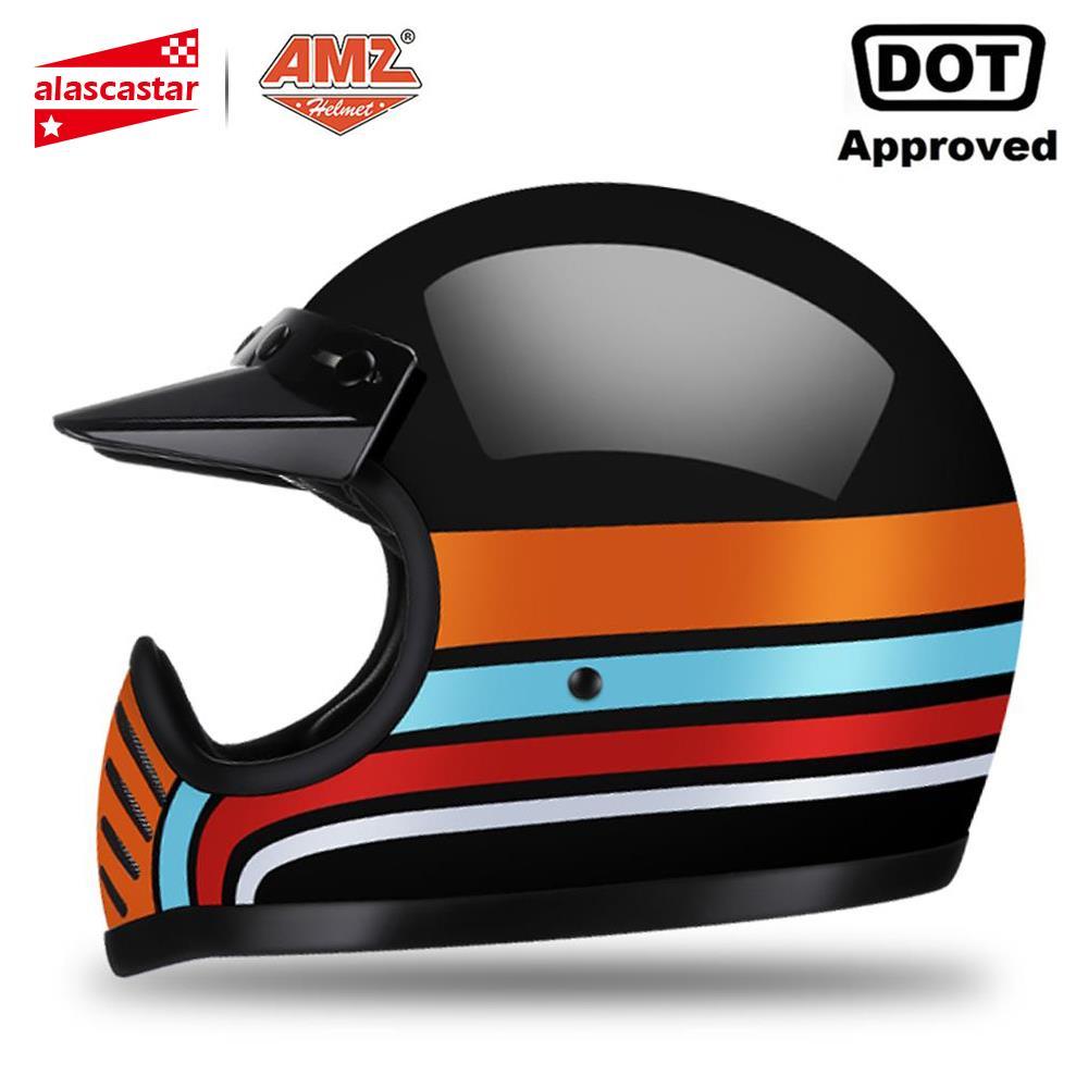 AMZ Motorcycle Helmet Fiberglass Motocross Casco Capacete Moto Helmet Motorbike Full Face Helmet Motorcycle DOT Certification