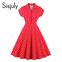 Sisjuly vintage dress summer red white polka dots a line mid-calf button retro short sleeve fashion women vintage dress 2017 new