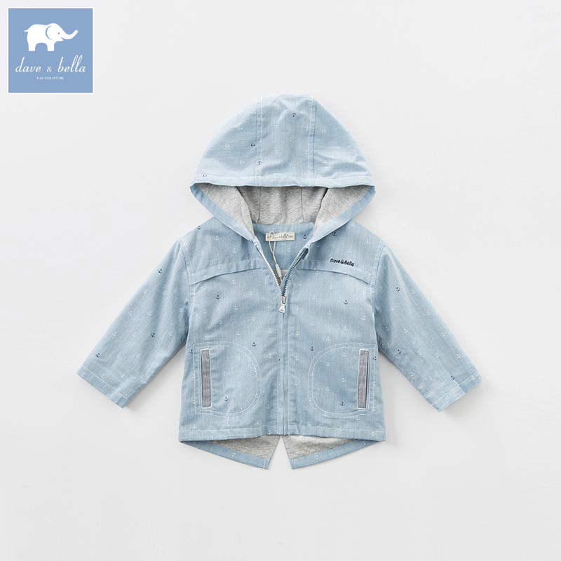 DB7043 dave bella spring infant baby boys fashion hooded coat kids toddler children hight quality clothes