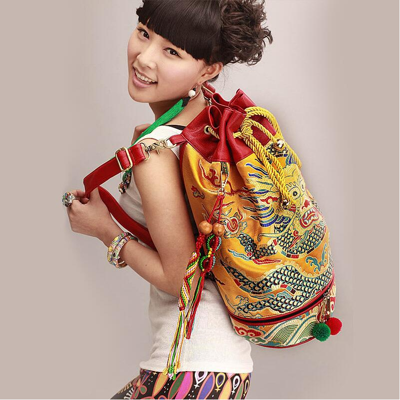 Free shipping New Original Chinese national wind Dragon Handwork embroidery personalized Fashion Women backpack free shipping new original ebmpapst blowers 4412n 1238 12v 5 3w wind capacity