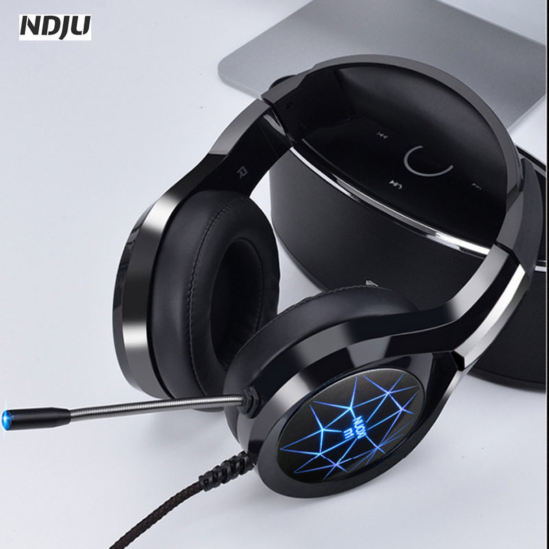 NDJU Computer Gaming Headphone 3.5MM Bass Headsets with LED light Stereo Gamer Player Earphone with MIC for PC laptop ps4 ndju g9000 bass gaming headphone ps4 headset earphone with 3 5mm led light player gamer headphones with mic for pc laptop phones