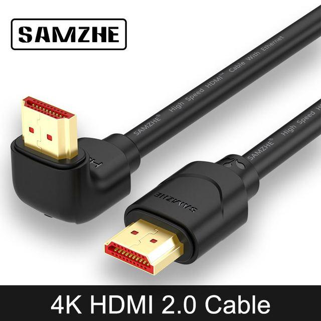 SAMZHE 4 HDMI 2.0 ケーブル 90/270 度の角度 HDMI ケーブル 2 18K * 4 18K 1 メートル 1.5 メートル 2 メートル 3 メートル 5 メートル 1080 1080P 3D テレビ PC 用プロジェクター PS3 PS4