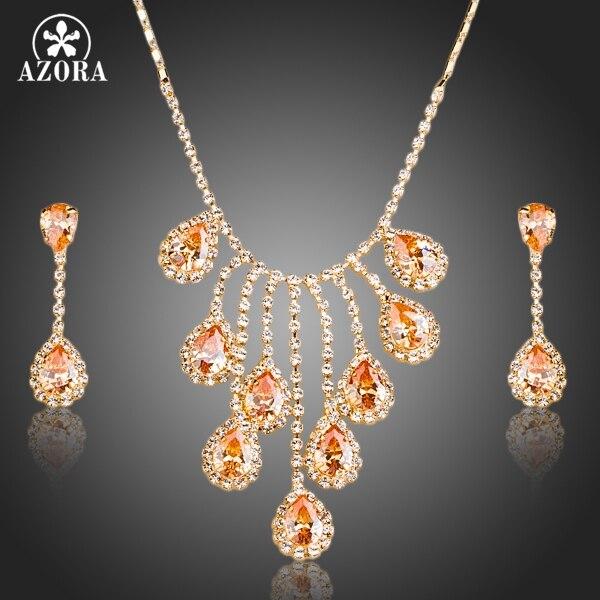 58751fb0c2b7 Azora nobleness oro color cubic zirconia waterdrop colgante collar y  Pendientes Juegos de joyería tg0150