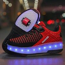 New Pink USB Charging Fashion Girls Boys LED Light Roller Skate Shoes