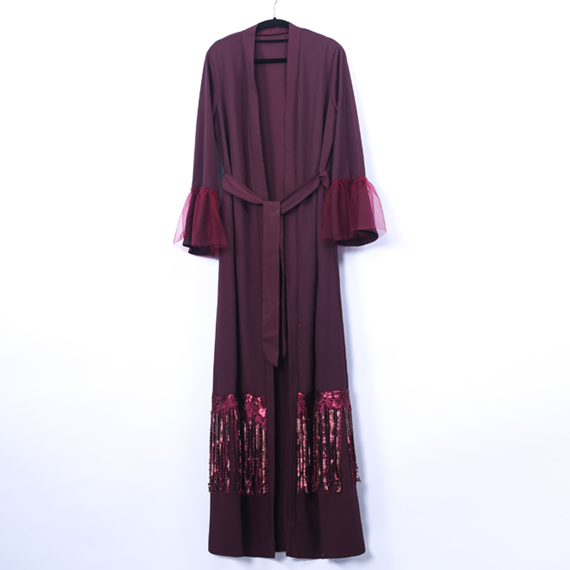 Sequin Tassel Open Abaya Kimono Dubai Hijab Muslim Dress Turkey Kaftan Abayas Women Caftan Islamic Clothing Robe Femme Cardigan