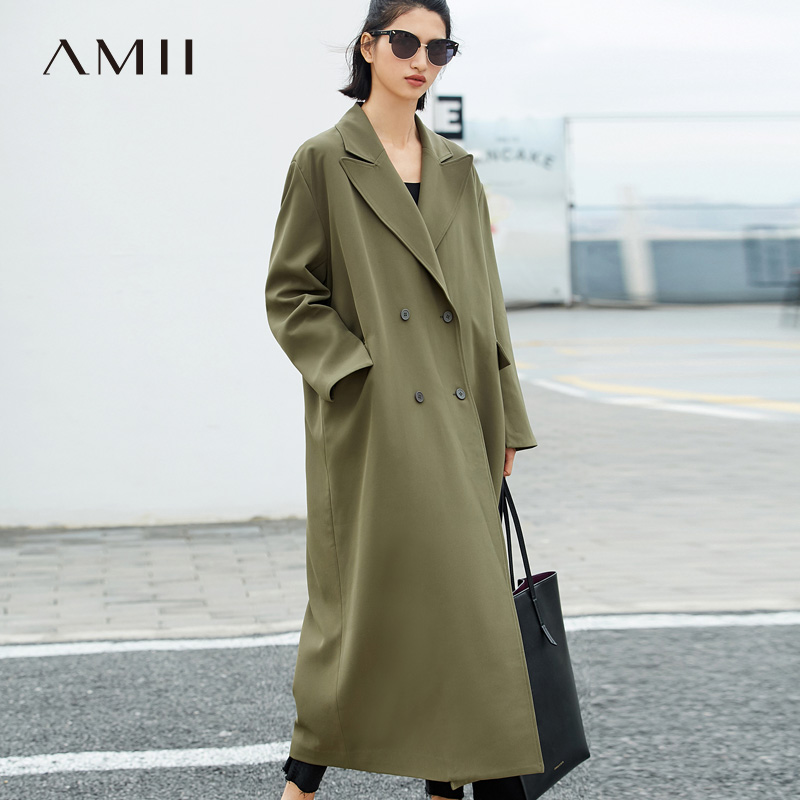 Amii Women Minimalist 2019 Autumn Trench Coat Office Lady Oversized Loose Double Buckles Long High Quality