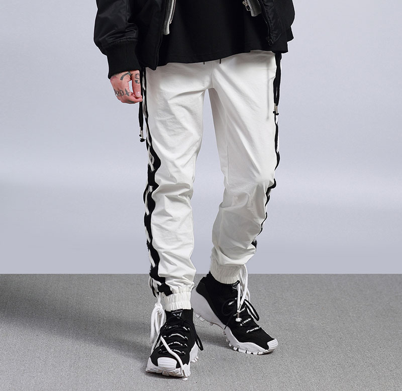 Side Cross Lace Up Joggers Pants 1
