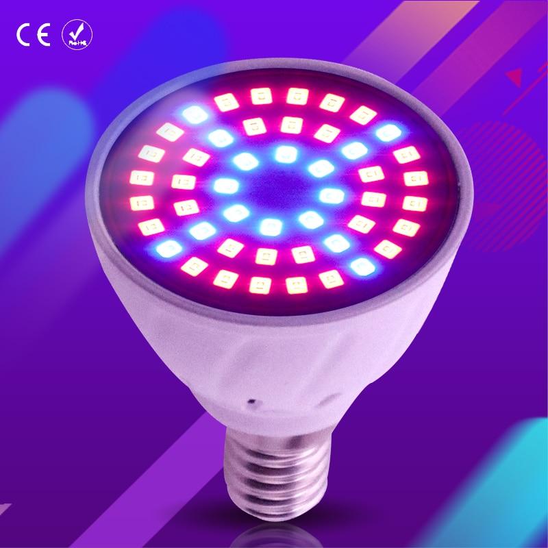 Spotlight Bulb LED Plant growth lamp LED E27 220V E14 2835SMD Full Spectrum led grow lamp 60/80leds UV Lights Indoor hydroponics