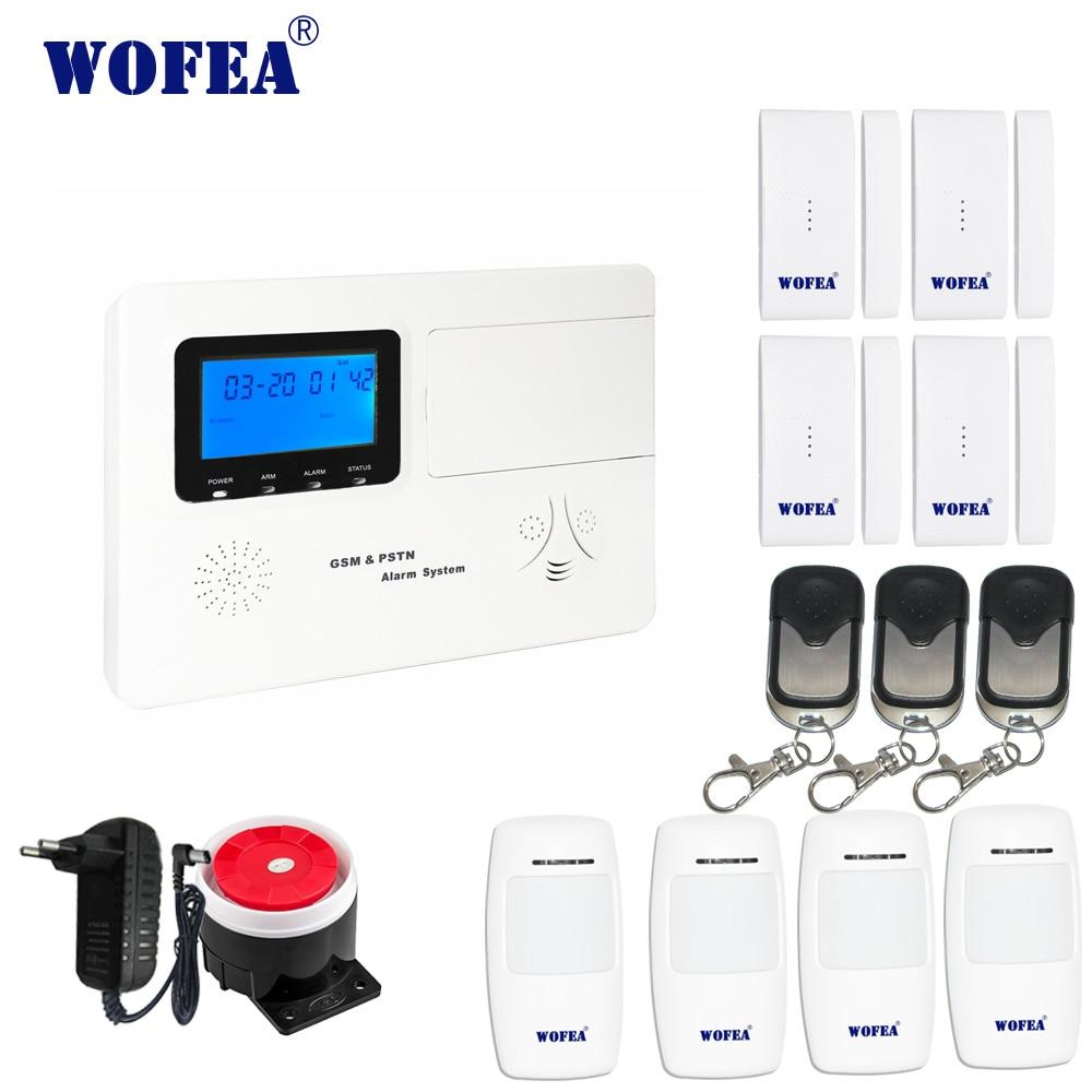Wofea home security GSM alarm system mit stimme zwei weg intercom APP control relais ausgang arbeit mit sowohl drahtlose verdrahtete sensoren