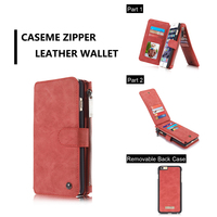 CaseMe Genuine Real Leather Wallet Case For Apple IPhone 6 7 Plus Multi Functional Magnet Cover