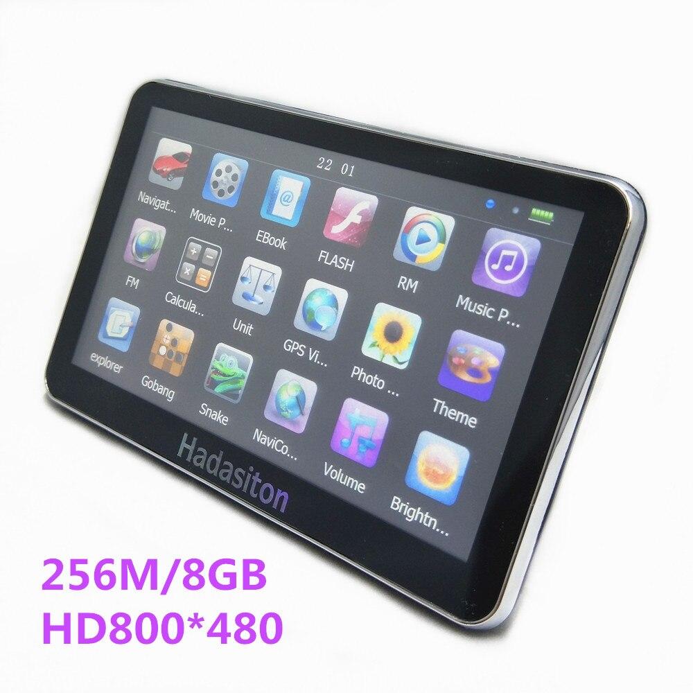 Кольцо 5 дюймов сенсорный экран автомобиля GPS навигатор HD800 * 480 cpu800m 256 м/8 ГБ + FM передатчик + бесплатная Последние карты
