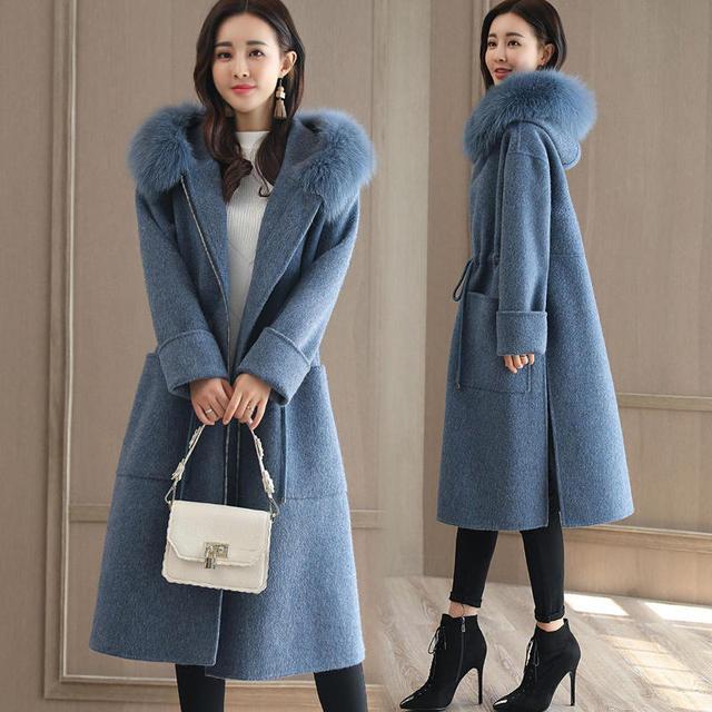 NEW Winter Wool Coat Women Fashion Adjustable Waist Long Parka Overcoat Manteau Femme Hooded Fur Collar Woolen Coat Jacket C3823 2