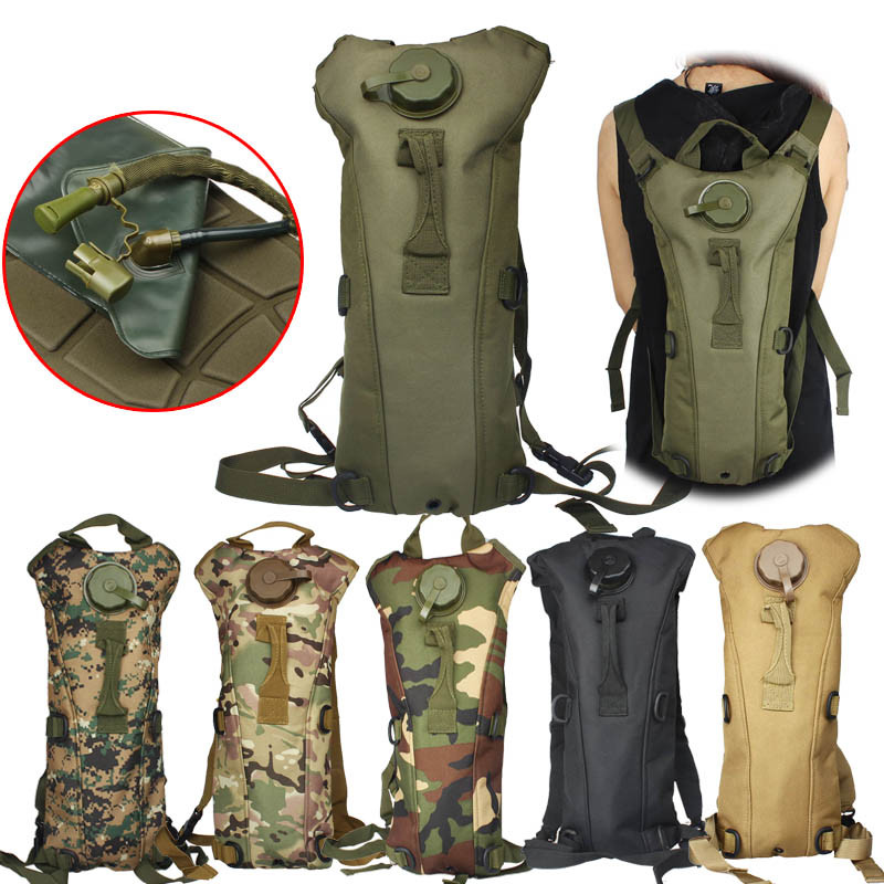 3L Portable Hydration Packs Camo Tactical Bike Bicycle Camel Water Bladder Bag Assault Backpack Camping Hiking Pouch Tools 2018