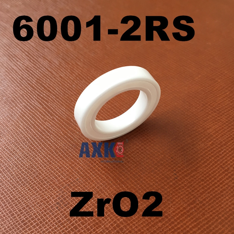 Free shipping 6001-2RS full ZrO2 ceramic deep groove ball bearing 12x28x8mm 6001 2RS P5 ABEC5 1pcs 6001 2rs 6001rs 6001 rs 12 28 8mm hybrid ceramic ball deep groove ball bearing 12x28x8mm for bicycle part