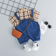 Toddler Baby Summer Clothes Set Short Sleeve Boys Plaid Shirt With Jeans Shorts Overalls 2pcs Cotton Newborn Baby Boy Outfits цена 2017